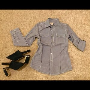 Michael Kors  striped blouse with tab sleeves.